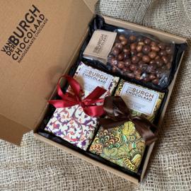 **Nieuw**  Brievenbus chocbox pure chocolade (54% cacao) en chocoparels