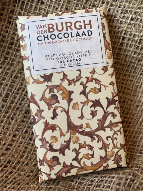 Romige fairtrade melkchocolade met grof gemalen Ethiopische koffie 100 gr (34% cacao)