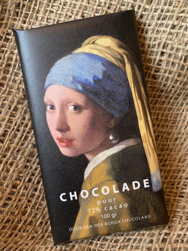 Pure chocolade 100 gr (72% cacao) Meisje met de parel