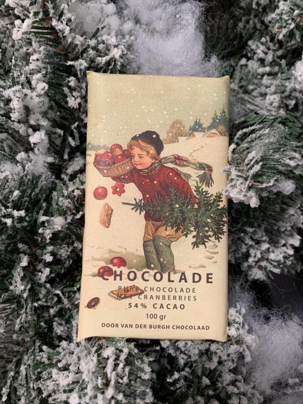 Pure chocolade met cranberries uit Canada 100 gr fairtrade (54% cacao)