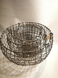 set van 3 metalen manden rond