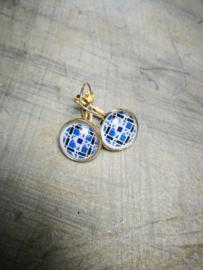 Blauw patroon in bubbel oorbellen
