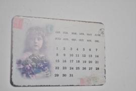 Vintage girl kalender magneet