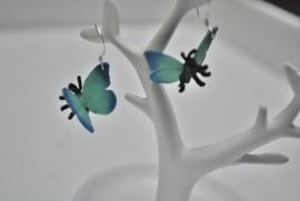 Blauwe vlinder oorbellen