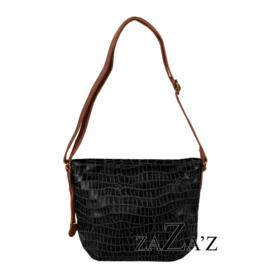 Lederen tas met croco print zaza