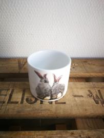 Klein bloempotje met konijntjes