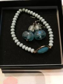 Blauw aqua juwelen setje