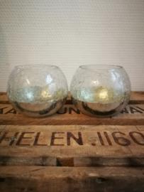 Set van twee zilverkleurige theelichtjes