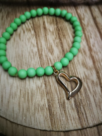 Groene parel armband met hartje