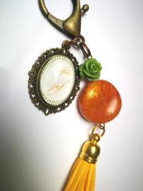 Warm oranje sleutelhanger liefste juf