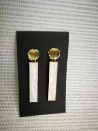 Oorbellen wit en goud