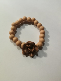 Bruin gebloemde armband