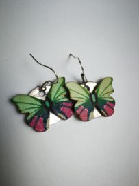 Groene vlinder oorbellen