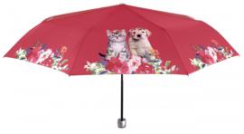 Rode kat en hond paraplu
