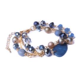 Biba blauw meerdelige armband