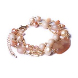 Oud roze meerlagige armband