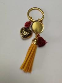 Gold and red sleutelhanger gepersonaliseerd
