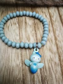 Blauwe kat armband