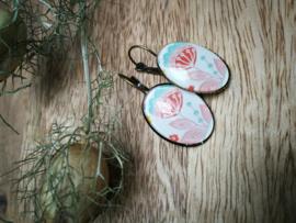 Ovaal roze oorbellen