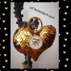 Juf gouden hart sleutelhanger bedankje