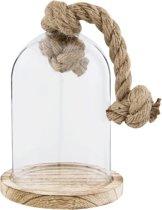 Glazen stolp met jutten touw
