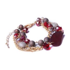 Biba rood meerdelige armband