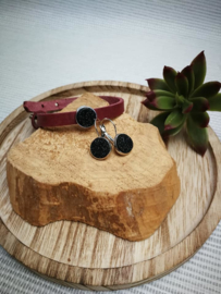 Bordeaux lederen armband set