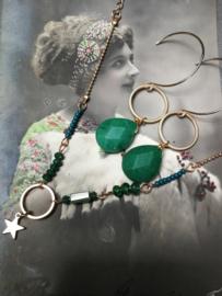 Emerald set oorbellen met armband