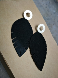 Black feather with silver