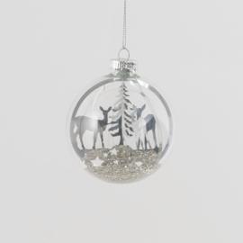 Glazen eenhoorn kerstbal tafereel
