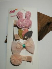 Set roze haarspeldjes konijn