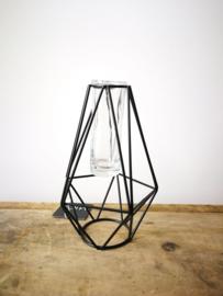 Draadvormige zwarte vaas met glazen buis