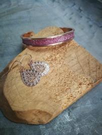Rose gold armband met bijpassende oorbellen
