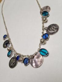 Ketting in blauw en zilver