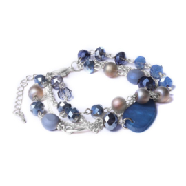 Blue and silver biba meerlagige armband