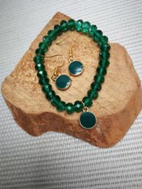 Groen en goud setje juwelen