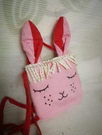 Leuk konijn handtasje in roze