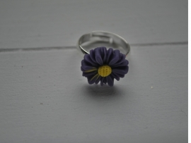 Paarse margriet Kinder ring