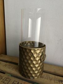Bronskleurige kaarsen houder / Windlicht