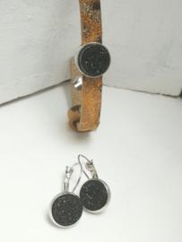 Lederen armband set zwart en goud