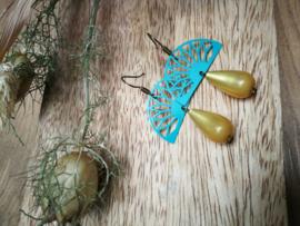 Blauwe oorbellen met gele druppel