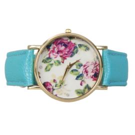 Blauw gebloemd horloge