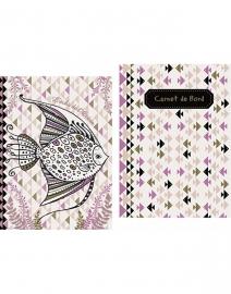 Set 2 mini gedachtenboekjes  vis in paars