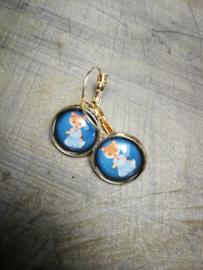 Katjes retro in blauw bubbel oorbellen