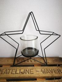 Zwart metalen ster theelicht
