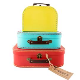 Set van 3 kleurrijke valiesjes