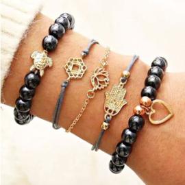 Set 5 zwarte armbandjes op elastiek