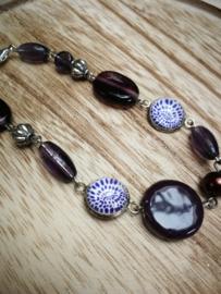 Diep paars met zilverkleur armband