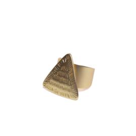 Goudkleurige driehoek ring biba