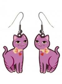 Roze kat oorbellen in leuk doosje